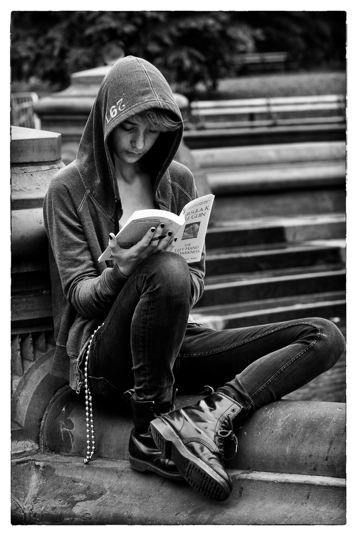 September-Open-A_Mitch-Wasserman_Honorable-Mention_Girl-Reading-BW